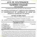 <strong>Le 9 novembre> – François de Singly, membre du jury de thèse de Tahereh Khazaei