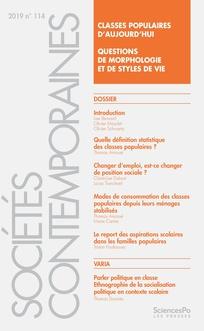 """""""Classes populaires d'aujourd'hui. Questions de morphologie et de styles de vie"""""""